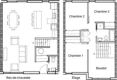 Maison de ville 3 chambres + boudoir